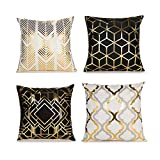 MIKIROY 4 Pack Soft Short Fuzzy Square Throw Pillow Covers, Geometry Gold Stamping Decorative Cushion Covers Pillowcase for Sofa Couch Bed Home Decoration, 18 x 18 inch Black and White