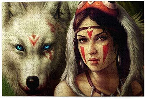Puzzle Girl Warrior Wolf para adultos 1000 piezas