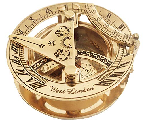 Vimal Nautical Messing Sonnenuhr Kompass 7,6 cm goldene Sonnenuhr Kompass voll funktionsfähig sowie Dekor Artikel (Gold)