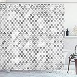 Cortina de baño gris, hexágono abstracto en zigzag hexagonal, color vívido y oscuro, matiz, intensidad, tono, rubor, impresión, tela de poliéster, decoración de baño con ganchos, blanco - 60 x 72 In