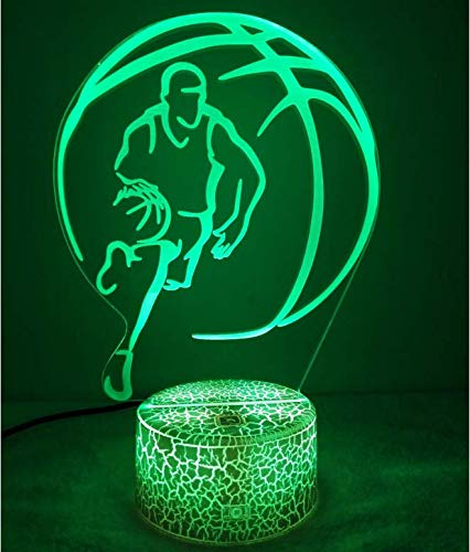 Optical Illusion 3D Basketball Night Light 7 Colors Changing USB Power Touch Switch Decor Lamp LED Table Desk Lamp Children Kids Christmas Xmas Brithday Gift