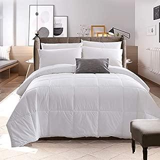 Fooaot All-Season White Down Alternative Quilted Comforter - Corner Duvet Tabs - Hypoallergenic - - Machine Washable - Duvet Insert or Stand-Alone Comforter (White, Queen)