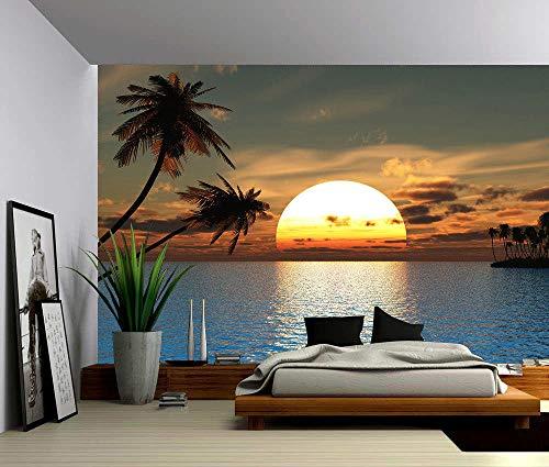 Fotobehang Fotobehang Tropische zonsondergang Oceaan palmboom Muurschildering, verwijderbaar decor Zelfklevende PVC muurstickers-150x105 cm (59,1 bij 41,3 inch)