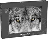 fotopuzzle.de Puzzle 1000 Teile Timber Wolf oder Grey Wolf Canis Lupus mit gelben Augen Nahaufnahme...