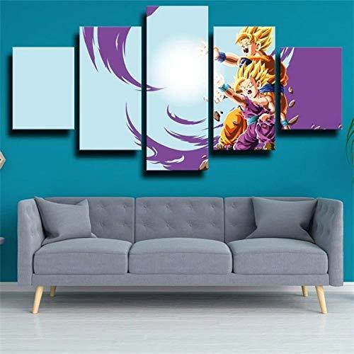 5 Piezas Lienzos Cuadros Pinturas Gohan Y Goku Cuadros Modernos Impresión Imagen Artística El Arte De La Pared del Hogar Salón Oficina Mordern Decoración Sin Marco