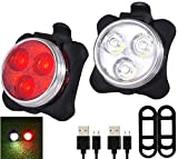 D&I USB Rechargeable Bike Light Set, Front Headlight and Rear LED Bicycle Light, 4 Light Mode Options, Water Resistant IPX4(Bike Light Set,Front Light)