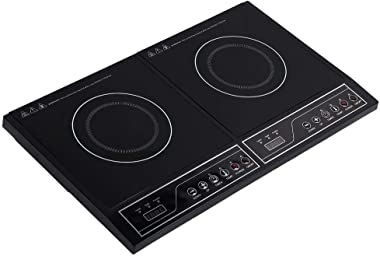 Home Dual 110V Electric Induction Cooker,2000w Portable Digital Countertop Double Burner Cooktop w/Timer - Works w/Stainless