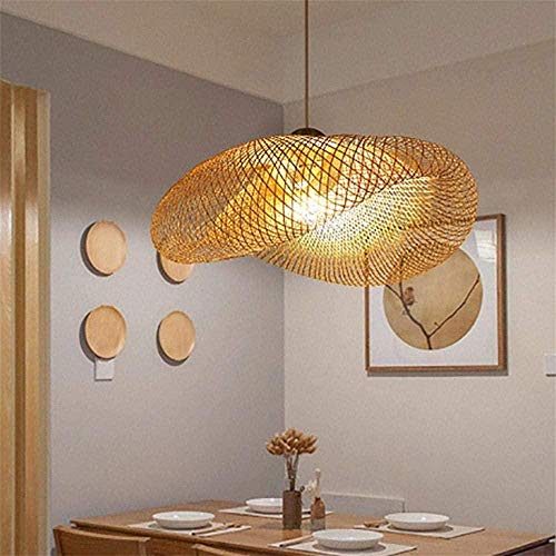 XBSLJ Ventilador de Techo, Iluminación Colgante Lámpara de Techo de ratán Lámpara de araña Lámparas Colgantes de bambú y ratán Natural Lámpara Colgante de Jaula Lámpara Colgante