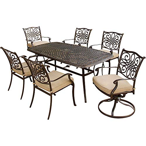 Hanover TRADITIONS7PCSW, 4 Stationary, 2 Swivel Rocker Chairs, and 38'x72' R Traditions 7-Piece Cast Aluminum Outdoor Patio Dining Set, Bronze Frame, Tan