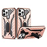 COOVY® Cover für Apple iPhone 12 pro Max 6.7 Bumper Case, Hülle Doppelschicht aus Plastik + TPU-Silikon, extra stark, Anti-Shock, Standfunktion | Rosegold