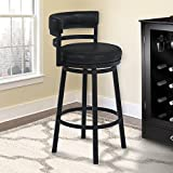 """Armen Living Madrid 30"""" Bar Height Swivel Barstool in Ford Black Faux Leather and Black Metal Finish"""