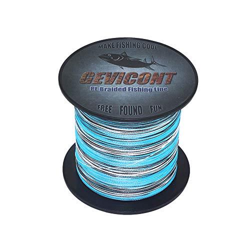 Gevicont Extreme Braid PE 300 m 500 m 1000 m Fil de pêche à la Carpe tressé de 4,5 kg à 136 kg Résistance Incroyable Superline 8 brins, Bleu Camouflage, 328Yds(300m)-70lb(31.8kg)-0.44mm