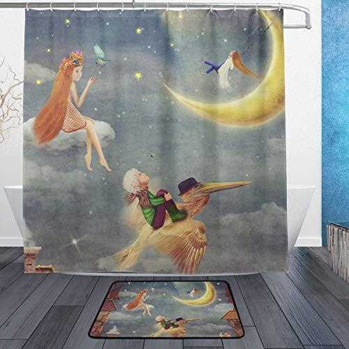 DYCBNESS Duschvorhang Fußmattensatz für Badezimmer,Kinderhimmel rote Dachplatten bewölkt,Neue personalisierte benutzerdefinierte Muster extra Langen Abschnitt 180 * 180cm