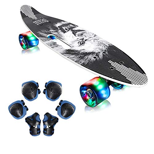 EiDevo Skateboard Komplette Mini Cruiser Retro Skateboard,Cruiser Retro Board mit LED Leuchtrollen,Fancy Skateboard All-in-One Skate T-Tool,Kinder Skateboards für Jungen Mädchen