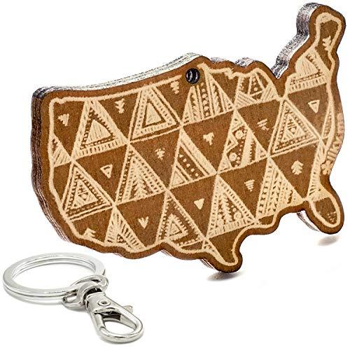 LIKY® Nordamerika Kontinent - Original Schlüsselanhänger aus Holz mit Gravur Geschenk Souvenir Damen Herren Geburtstag Hobby Schmuck Anhänger Tasche Rucksack