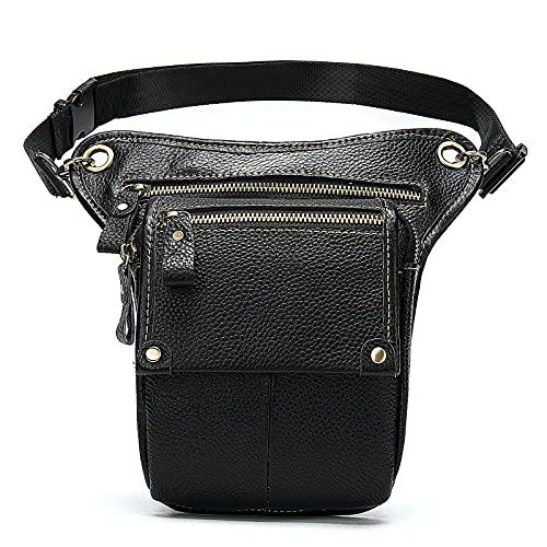 Bolsa de cuero genuino para la cintura, para motocicleta, bicicleta, ciclismo, muslo, bolsa para teléfono celular, para hombres y mujeres