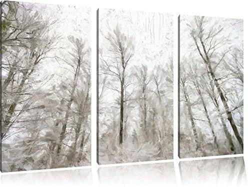 schöner Winterwald3-Teiler Leinwandbild 120x80 Bild auf Leinwand, XXL riesige Bilder fertig gerahmt mit Keilrahmen, Kunstdruck auf Wandbild mit Rahmen, gänstiger als Gemälde oder Ölbild, kein Poster oder Plakat