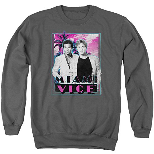 Crockett and Tubbs Grey Miami Vice Sweatshirt for Adult, S to 3XL