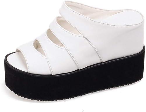chaussuresDQ Pantoufles imperméables imperméables Creuses de Plate-Forme épaisse de Pente de Bouche de Poisson d'été Confortable