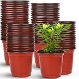 Augshy 150 Pcs 4' Plastic Plants Nursery Pot,Seed Starting Pots