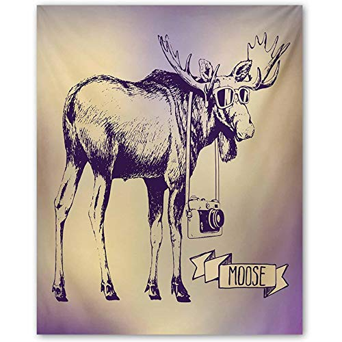 Moose Wall Stickers for Hipster Deer with Shade Sunglasses and Camera Vintage Ombre Design Funny Animal Art Best Gifts for Wife Purple Beige L16 x H24 Inch
