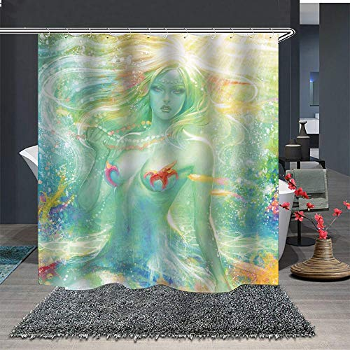 Sexy Mystical Water Color Mermaid Bathroom Shower Curtains
