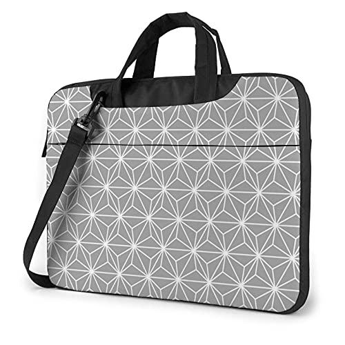 Bolsa para portátil de 13-15,6 Pulgadas Patrón de estilo de hoja de cáñamo japonés Bolso de Hombro para portátil Bolso de Hombro Elegante Ordenador Portátil