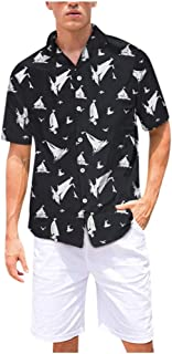 OMINA Mens Hawaii Printed Shirt Short Sleeve, Summer Casual Breathable Cool Beach Top Blouses