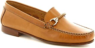 Leonardo Shoes Mocassino Artigianale da Donna con Morsetto in Cuoio Marrone - Codice Modello: 174 Invecchiato Art. DASY Sp...