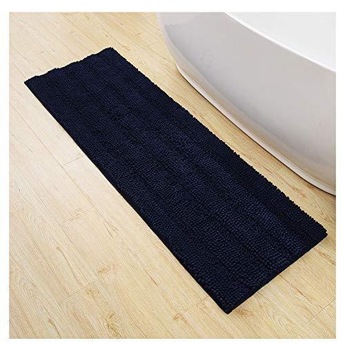 GELing Chenille Mikrofaser Fußmatte Weich rutschfest Badteppich Badematte, Hochflor Badvorleger für Badezimmer Küche Navy 50 * 81cm