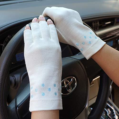 Guuisad Guantes de Verano de Mujeres Protección Solar Medio Dedo diseño Ultrafino Antideslizante Ciclo, Guantes de conducción, Guante, manopla, múltiples Colores Disponibles Simple y Elegante diseño,