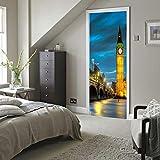 Calcomanía para puertas interiores, dormitorio, papel tapiz extraíble, sala de estar, decoración antigua para el hogar, pegatina para puerta en 3D, campanario, vista nocturna (77x200cm)