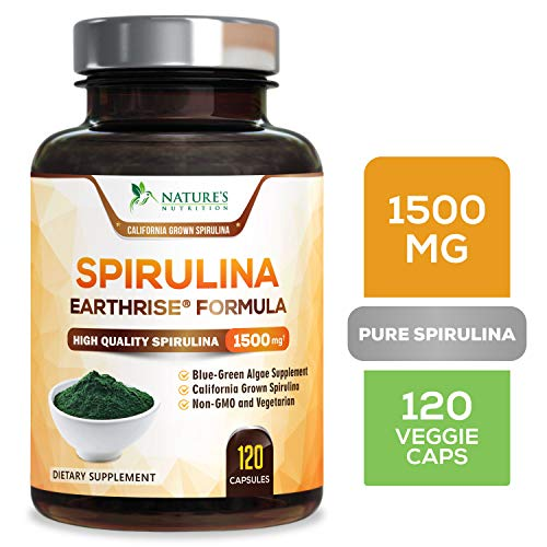 Spirulina Capsules 1500mg - High Quality Spirulina Supplement - Natural Antioxidant & Fatty Acids Pills - Superfood Rich in Minerals & Vitamins - Non-Irradiated, Non-GMO - 120 Capsules