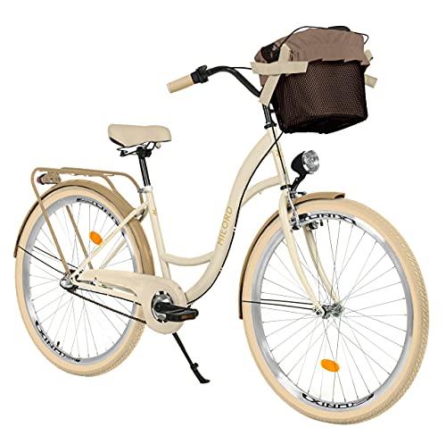 Milord. Bicicleta de paseo para mujer, 26 pulgadas, 3 marchas, color crema, marrón, con cesta, estilo retro vintage