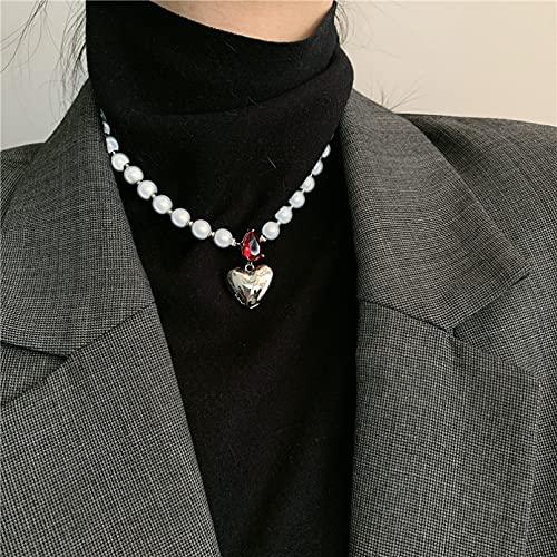 N/A Collar Conjunto De Pulsera De Cadena De Clavícula Collar De Amor Grande Esmalte De Color Retro Simple Americana Regalo Parejas Y Amigos