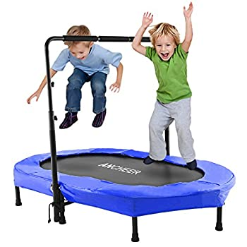 ANCHEER Mini Rebounder Trampoline with Adjustable Handle for Two Kids Parent-Child Twins Trampoline Max Load 220lbs Foldable Trampoline Exercise Trampoline for Indoor/Garden/Workout Cardio
