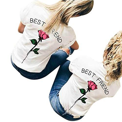 Zimuuy Zimuuy Damen Sommer Bluse, Frau Mode Beiläufiges Buchstaben Rose Gedruckt Kurzarm T Shirt für Bester Freund Oberteile Crop Top (XXXXL, Hot Pink)