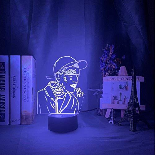 Lámpara De Ilusión 3D Luz De Noche Led Rapero Estadounidense Lil Peep Para Decoración Del Hogar Lámpara De Mesa Colorida Para Niños Celebrity