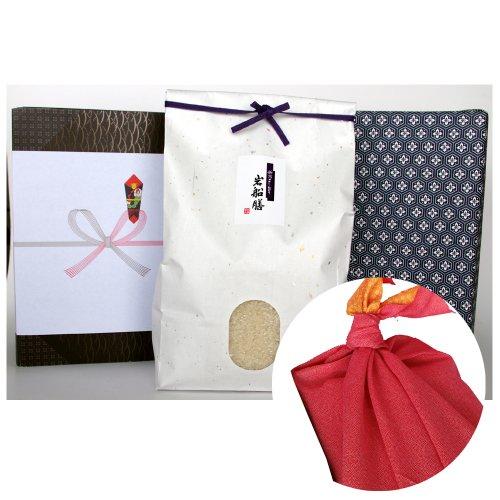 新潟県産コシヒカリ (アイガモ農法・米袋:白・包装紙:青・風呂敷:赤)3キロ