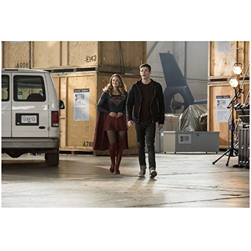 The Flash (TV Series 2014 - ) 8 Inch x 10 Inch photo Grant Gustin in Black Hoodie Walking in Warehouse w/Melissa Benoit/Supergirl kn