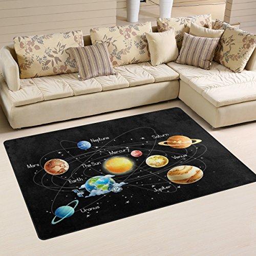 Use7Universe Galaxy Système solaire Zone Tapis Tapis antidérapant Tapis de sol Paillasson Salon Chambre à coucher 50x 80cm (1.7