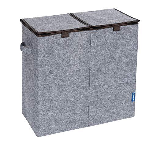 Wenko Wäschesammler Filz Duo - Wäschekorb, 2 Kammern und Klappdeckel Fassungsvermögen: 82 l, Filz, 52 x 54 x 28 cm, grau