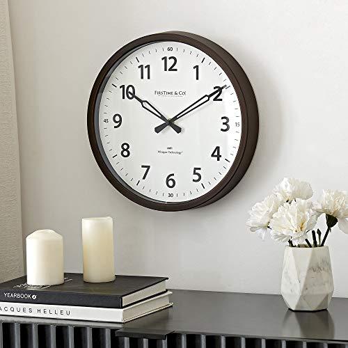 FirsTime & Co. Nolan Whisper Wall Clock, American Crafted, Dark Espresso, 12 x 2 x 12,