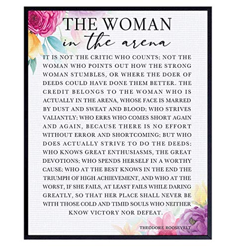 Daring Greatly Man/Woman In the Arena Positive Quote Wall Decor Poster - 8x10 Teddy Roosevelt Decor - Inspirational Motivational Wall Art - Uplifting Encouragement Gifts for Women, Daughter, Girls