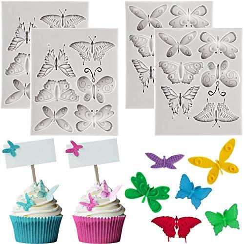 4 piezas de moldes de silicona para fondant de mariposa blanca de chocolate para hornear caramelo, pastel de chocolate, decoración de arcilla polimérica