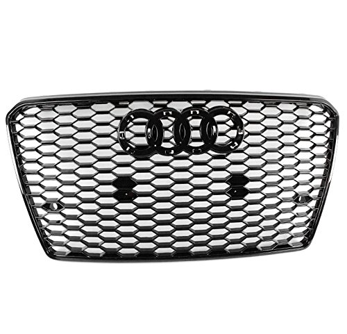 ZMAUTOPARTS Honeycomb Mesh Hex Grille Gloss Black For 2012-2015 Audi A7 / S7
