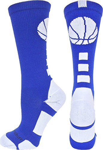 MadSportsStuff Basketball Logo Athletic Crew Socks, Medium - Royal/White