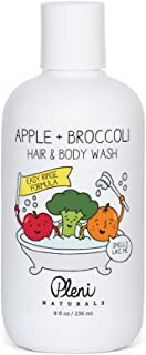 Pleni Naturals Apple + Broccoli Hair & Body Wash 8oz with Organic Sweet Orange Essential Oil, Dermatologist Tested and Safe for Baby, Toddler and Small Children with Sensitive Skin