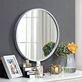 GJH-Espejo Espejo de vanidad de baño nórdico, Espejo de baño montado en la Pared, Espejo Decorativo Redondo (Color : Blanco, tamaño : 60cm)