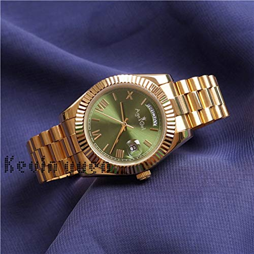 Luxury Men Daydate Rose Gold Silver Black Green Watch Automatic Mechanical Stainless Steel Sapphire Watches 41mm AAA+ Gold Green